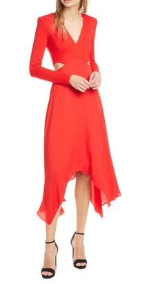 Alice + Olivia Temika Cutout Waist Long Sleeve Dress