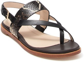 Cole Haan Anica Leather Snakeskin Embossed Thong Sandal