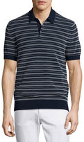 Michael Kors Textured-Stripe Polo Shirt, Navy