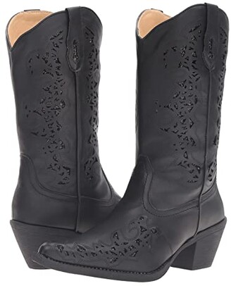 Roper Alisa (Black Faux Leather) Cowboy Boots