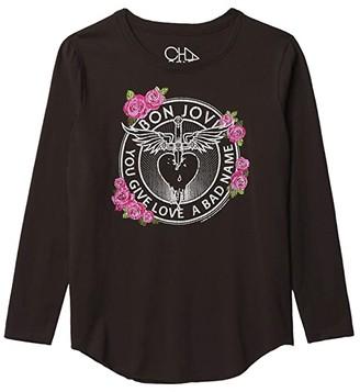 Chaser Vintage Jersey Long Sleeve Shirttail T-Shirt (Little Kids/Big Kids) (Union Black) Girl's Clothing