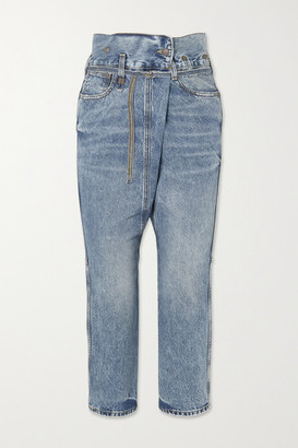 R 13 Staley Belted Boyfriend Jeans - Blue
