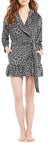 Betsey Johnson Vintage Terry Animal-Print Hooded Wrap Robe
