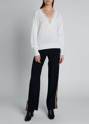 Chloé Lace Silk-Wool V-Neck Sweater