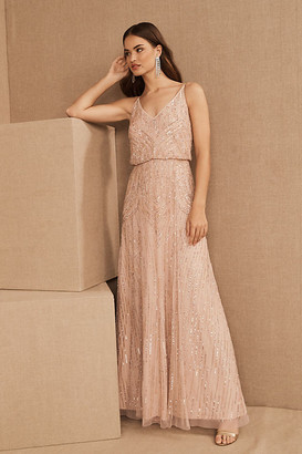 BHLDN Fidelia Beaded Maxi Dress By in Pink Size 0