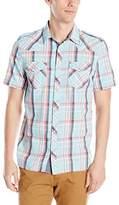Buffalo David Bitton Men's Sandwich Short Sleeve Plaid Button Down Shirt