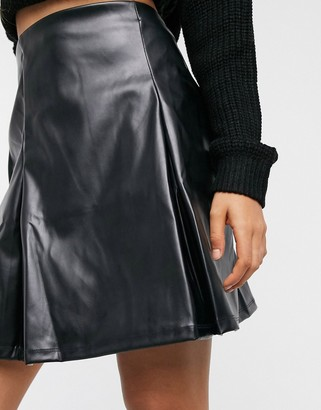 ASOS DESIGN pleat leather look mini skirt in black
