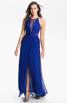BCBGMAXAZRIA Lace Inset Textured Silk Chiffon Gown