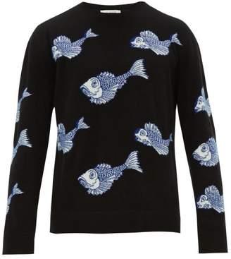 Valentino Koi Pond Jacquard Wool Blend Sweater - Mens - Black Multi