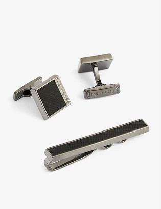 Ted Baker Leather-embossed cufflink and tie bar set