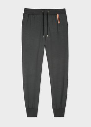 Paul Smith Men's Dark Grey 'Artist Stripe' Embroidery Wool Sweatpants