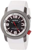 "Redline red line Men's RL-50043-GY-01-WH ""Octane"" Gunmetal Ion-Plated Stainless Steel and White Silicone Watch"