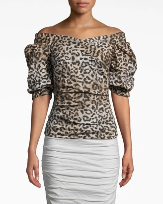 Nicole Miller Leopard Puff Sleeve Top