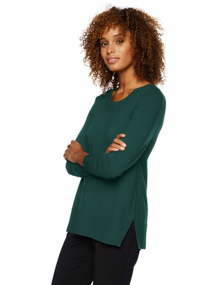 Lark & Ro Women's Premium Viscose Blend Long Sleeve Crewneck Side-Slit Sweater