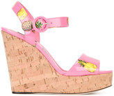 Dolce & Gabbana pineapple print wedge sandals - women - Cork/Leather/Patent Leather - 39