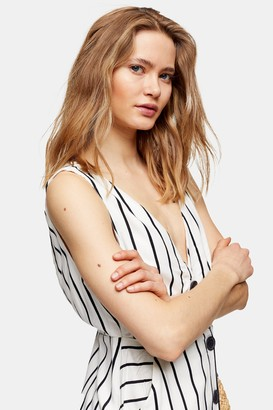 Topshop Womens Ivory Stripe Pinafore Midi Dress - Ivory