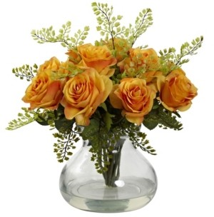 Nearly Natural Rose and Maiden Hair Floral Arrangement w/Vase