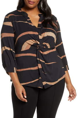 Nic+Zoe Abstract Animal Twist Front Top