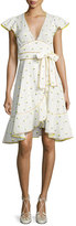 Marc Jacobs Printed Voile Ruffle-Sleeve Dress, White Pattern