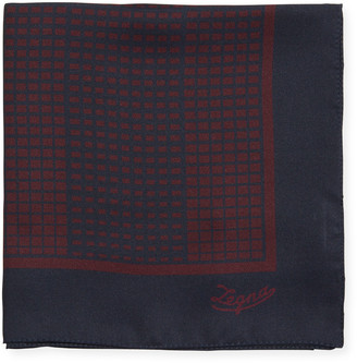 Ermenegildo Zegna Grid Check Silk Pocket Square, Red