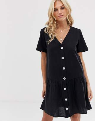 Stradivarius rustic dress with natural buttons in black