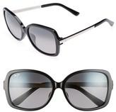 Maui Jim Women's Melika 58Mm Polarized Square Sunglasses - Black Silver/ Neutral Grey