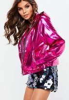 Missguided Pink Cropped Metallic Rain Mac Jacket