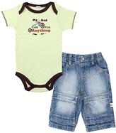 Kushies Green 'Fix Anything' Bodysuit & Denim Pants - Infant
