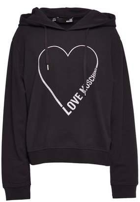 Love Moschino Glittered Cotton-blend Jersey Hoodie