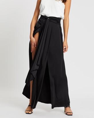 Missguided Split Leg High Waist Satin Maxi Skirt