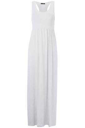 Fashion Star Womens Printed Muscle Back Racer Maxi Dress White M/L (UK 12/14)