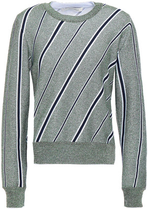 Cédric Charlier Metallic Striped Jacquard-knit Sweater