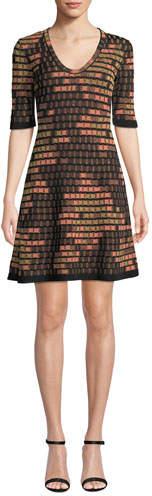 M Missoni Short-Sleeve Short Geometric Jacquard Dress