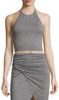 Alice + Olivia Jaymee Cropped Halter Top, Heather Gray