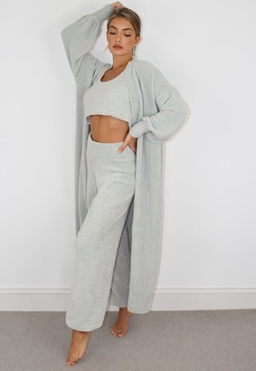 Missguided Grey Chenille Maxi Cardigan