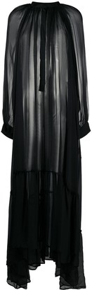 Ann Demeulemeester Balloon-Sleeved Chiffon Maxi Dress