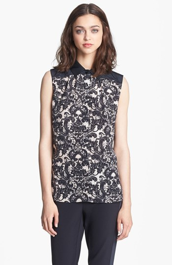 Nordstrom Miss Wu 'Vera' Lace Print Silk Blouse Exclusive)