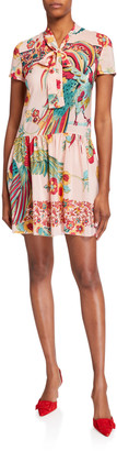 RED Valentino Birds of Paradise Tie-Front Short-Sleeve Dress