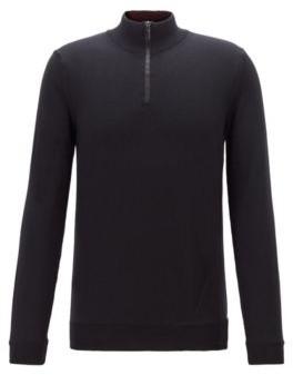 HUGO BOSS Virgin Wool Zip Neck Sweater With Contrast Detailing - Black