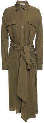 Vince Tie-front Twill Midi Shirt Dress
