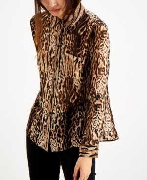 INC International Concepts Inc Petite Cat-Print Blouse, Created for Macy's
