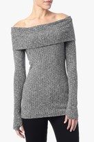 7 For All Mankind Off Shoulder Ribbed Knit Top In White And Black Marled