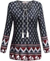 WAJAT Women's Neck Tie Floral Print Ethnic Style Loose Casual Tunic Top L