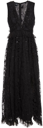 Giambattista Valli Ruffled Embellished Cotton-blend Tulle Midi Dress