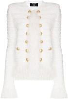 Balmain fringe tweed collarless blazer