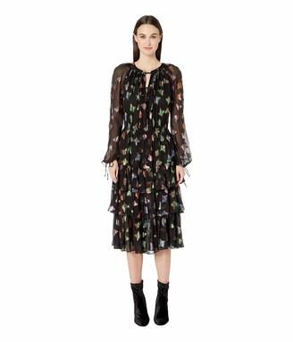 The Kooples Women's Women's Lurex Butterfly Print Dress in Silk Muslin