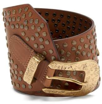 Isabel Marant Lowli Studded Leather Belt - Womens - Brown