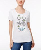 Karen Scott Embellished Bike Graphic Top, Only at Macy's