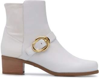 Stuart Weitzman Buckle-Embellished Ankle Boots