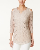 JM Collection Petite Cold-Shoulder Crochet Top, Created for Macy's